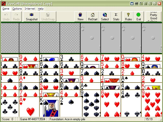 Pretty Good Solitaire card game - play 600 solitaire games ...